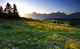 Sunset landscape in savoy. Sunset in mountain. Savoy, france near the mont-blanc (beaufortain Stock Images