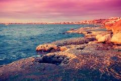 Tripoli, Lebanon. Sunset landscape of sea coast, Tripoli, Lebanon Stock Images