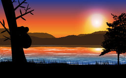 Sunset landscape with sea,mountain and tree with koala silhouette. Editable vector illustration. Available eps10 file Royalty Free Illustration