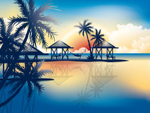 Relaxing in hammock on a tropical beach. Sunset landscape on the sea vector wallpaper stock illustration