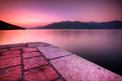 Sunset landscape on seaside od Montenegro Stock Image