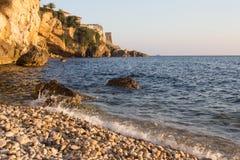 Sunset landscape of seaside town in Montenegro Stock Photo