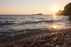 Sunset landscape of seaside town in Montenegro Royalty Free Stock Photo