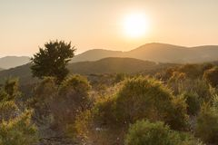 Sunset landscape of Sithonia peninsula, Chalkidiki, Central Macedonia, Greece. Amazing sunset landscape of Sithonia peninsula, Chalkidiki, Central Macedonia stock photography