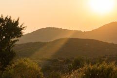 Sunset landscape of Sithonia peninsula, Chalkidiki, Central Macedonia, Greece. Amazing sunset landscape of Sithonia peninsula, Chalkidiki, Central Macedonia stock photo