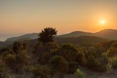 Sunset landscape of Sithonia peninsula, Chalkidiki, Central Macedonia, Greece. Amazing sunset landscape of Sithonia peninsula, Chalkidiki, Central Macedonia royalty free stock image