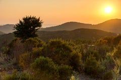 Sunset landscape of Sithonia peninsula, Chalkidiki, Central Macedonia, Greece. Amazing sunset landscape of Sithonia peninsula, Chalkidiki, Central Macedonia stock photos