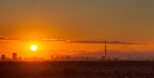 Sunset landscape and Tokyo city Royalty Free Stock Photo