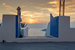 Sunset landscape in town of imerovigli, Santorini island, Thira, Cyclades Stock Photos