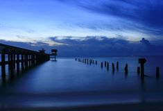 Sunset landscape twilight time beautiful at bridge Royalty Free Stock Photography