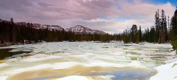 Sunset landscape in the Uinta mountains. Spring thaw in the Uinta Mountains, Utah, USA Stock Photos