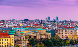 Sunset landscape view to Vltava river in Prague Royalty Free Stock Images