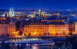 Sunset landscape view to Vltava river in Prague Stock Photo