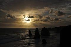 Sunset landscape view the Twelve Apostles Great Ocean Road in Victoria Australia. Landscape view the Twelve Apostles on sunset at Port Campbell National Park royalty free stock images