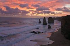 Sunset landscape view the Twelve Apostles Great Ocean Road in Victoria Australia. Landscape view the Twelve Apostles on sunset at Port Campbell National Park royalty free stock photo