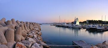 Sunset landscape with yacht club view Royalty Free Stock Photo