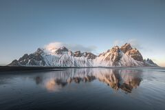 Free Sunset Landscapes In Vestrahorn Bat Mountain In Iceland Stock Photos - 173835213
