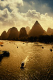 Sunset landscpae of yangshuo Royalty Free Stock Images