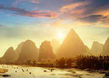 Sunset landscpae of yangshuo Royalty Free Stock Image