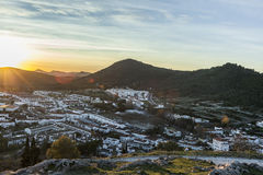 Sunset landspace white architecture of tourist Aracena`s town. H. Uelva. Spain Royalty Free Stock Photography