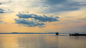 Sunset at Langenargen in Lake Constance Royalty Free Stock Photos