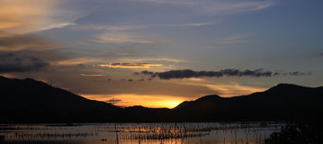 Sunset on Lap An pond Stock Photography