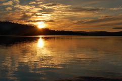 Sunset. Late in the night in the north of Sweden Royalty Free Stock Photo