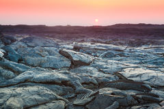 Sunset and  lava landscape Stock Images