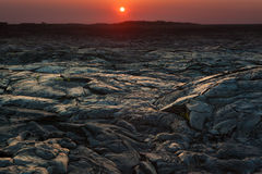 Sunset and  lava landscape Royalty Free Stock Photo