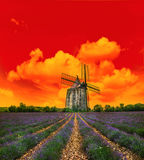Sunset in lavender field. Landscape with windmill and dramatic s Royalty Free Stock Photography