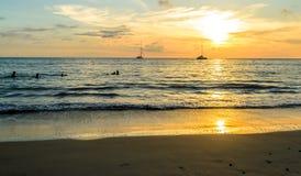 Sunset at Layan beach, Phuket Island in Thailand Stock Photos