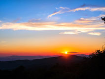 Sunset and layer of mountain complex Royalty Free Stock Photography