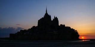 Sunset at Le Mont Sent Michel, France Stock Photos