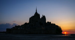 Sunset at Le Mont Sent Michel, France Royalty Free Stock Images