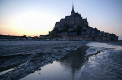 Sunset at Le Mont Sent Michel, France Royalty Free Stock Photography