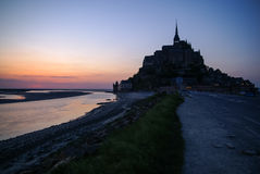 Sunset at Le Mont Sent Michel, France Stock Image