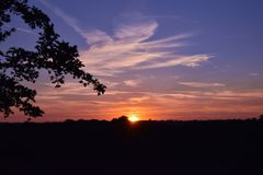 Sunset. In Leaden Roding Essex England Royalty Free Stock Photo
