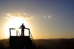 Sunset Lectures at Arkaroola. Photograph taken at Arkaroola (Flinders Ranges, Outback Australia) at sunset featuring the silhouette of a professor giving a stock images