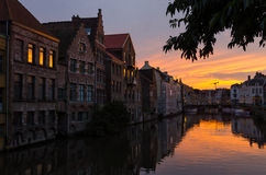 Sunset on the Leie river, Gent Stock Images