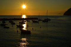 Sunset levanto boats italy Stock Photos