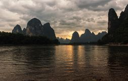 Sunset on Li river, China. Stock Photos