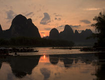 Sunset at li river guangxi Royalty Free Stock Photo