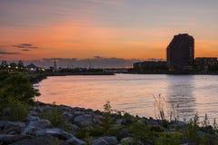Sunset Liberty Landing Marina Royalty Free Stock Photos