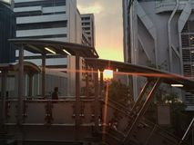 Architecture. Sunset between the buildings in Bangkok royalty free stock photography