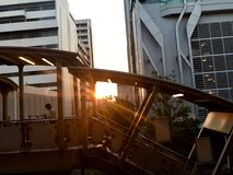 Architecture. Sunset between the buildings in Bangkok royalty free stock image