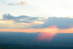 Sunset with light beam Royalty Free Stock Photography