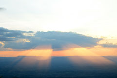 Sunset with light beam Stock Photos