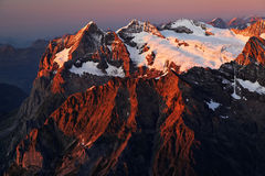 Sunset light in Berner Oberland Royalty Free Stock Images
