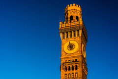 Sunset light on the Bromo-Seltzer Tower in Baltimore, Maryland. stock photo