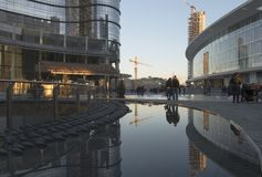 Sunset light at business hub, Milan Stock Images
